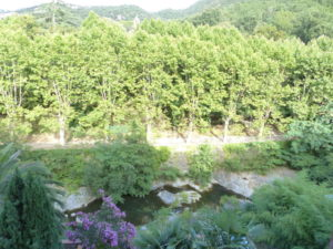 Voici une photo de la vue depuis la chambre du T2 n°C10. Toutes nos locations se trouvent à 100 mètres des thermes.