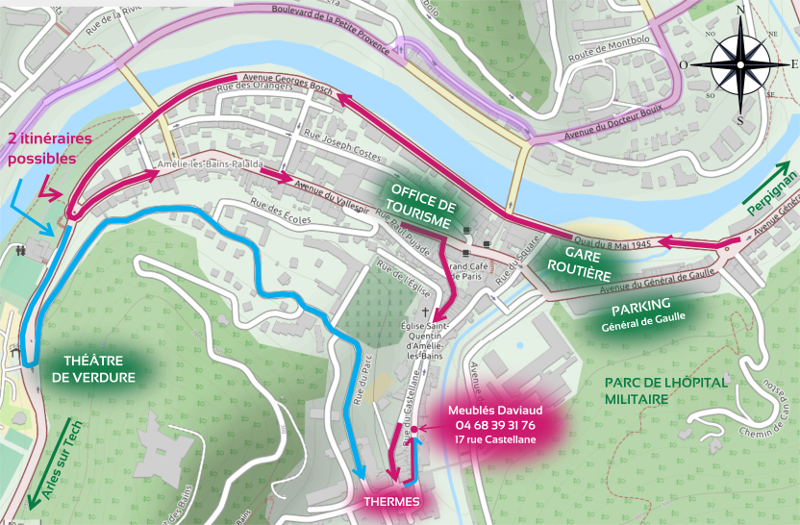 Voici un plan d'Amélie les Bains résumé où vous pouvez voir les thermes, le parking Général de Gaulle et nos locations d'appartements Meublés Daviaud.