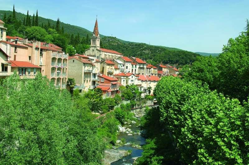Voici une photo de la rivière le Mondony à Amélie les Bains. Nos appartements ont vue sur cette rivière et sur la verdure environnante.