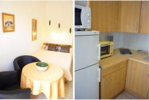 Voici deux photos avec chambre / salon et cuisine séparée d'un T1 climatisé. Cette location se trouve à 100 mètres des thermes.