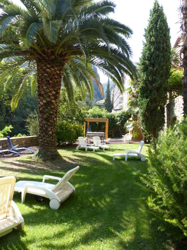 Voici une photo de notre grand jardin à disposition de nos locataires. Un SPA chauffé est à disposition gratuitement ainsi qu'une salle de sport, un barbecue etc. Le tout en pleine verdure.